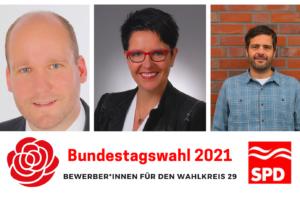 Hendrik Rehm, Katja Brößling und Daniel Schneider bewerben sich für die Bundestagskandidatur im Wahlkreis 29 Cuxhaven-Stade II